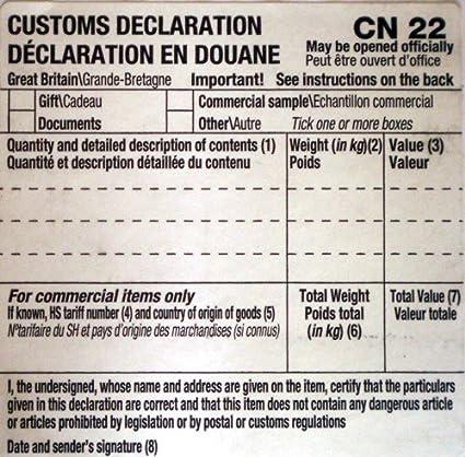 50 autoadhesivas declaración Aduanera CN22 de etiquetas de formas Royal Mail