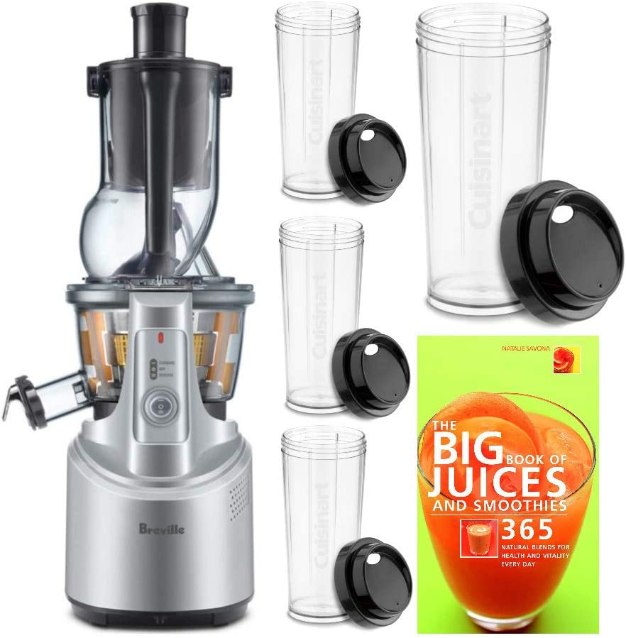 Breville BJS700SIL Big Squeeze Slow Juicer (Silver) with Four Travel Cups and Recipe Book Bundle (3 Items)