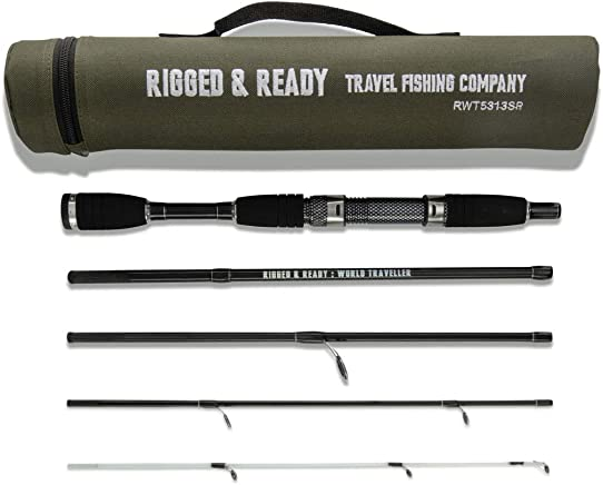 Rigged Ready Smuggler 5, Travel Fishing Rod. Compact, Powerful, 5 Piece, 160cm, 5.25 ft, high Performance, Nano Carbon Rod with Unbreakable tip, Travelling Fishing Pole in a Compact Format.