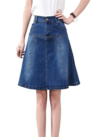 5858a386a7 Denim Skirts Women Knee-Length, High Waist A-line Jeans Dress Retro Blue