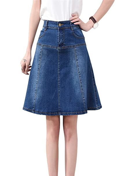 special discount great prices uk store ACE SHOCK Denim Skirts Women Knee-Length, High Waist A-line Jeans Dress  Retro Blue Plus Size