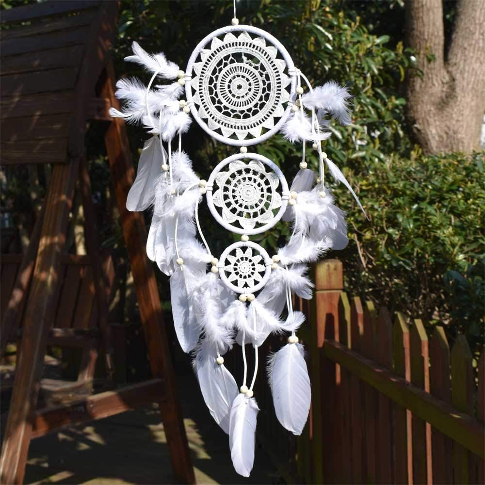 """EasyBravo Large White Dream Catcher with Beaded Nature Feathers Wall Hanging Decoration Ornament Gift for Vantige Party Wedding Native American Home Decorations 6.3"""" Diameter (3Circles)"""
