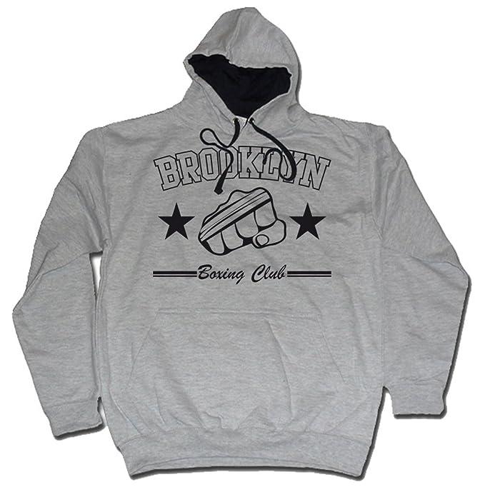 Brooklyn Club de Boxeo Sudadera con Capucha Gris de Dibbs: Amazon.es: Ropa y accesorios