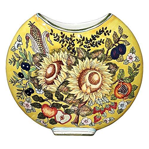 CERAMICHE D'ARTE PARRINI - Italian Ceramic Art Pottery Vase Vessel Brings Flowers Hand Painted Decorated Sunflowers Made in ITALY (Painted Pottery Vase)