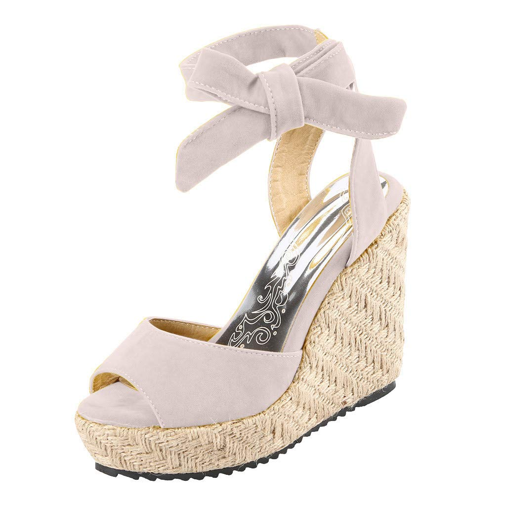 Respctful✿Wedge Sandals for Women's Fashion Flatform Espadrilles Ankle Strap Buckle Open Toe Faux High Heels Beige by Respctful_shoes (Image #1)