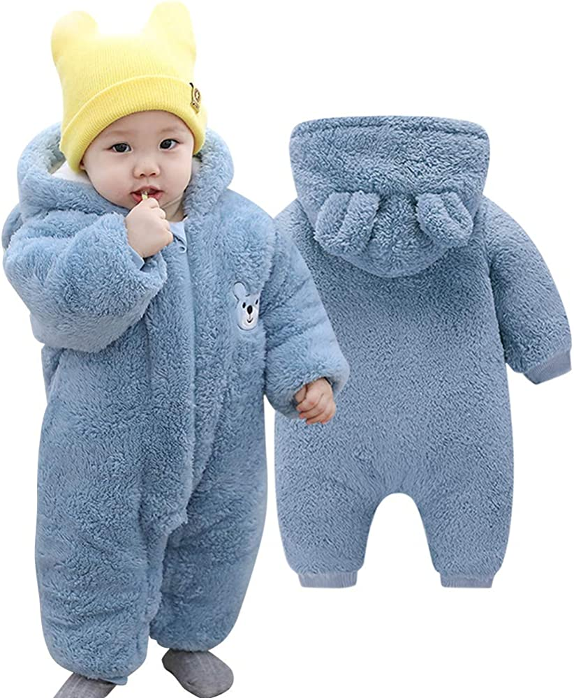 Voopptaw Warm Baby Winter Jumpsuit Fleece Romper Suits Cute Thick Bear Snowsuit for 0-12months