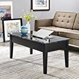 Faux Marble Solid Wood Construction Lift Top Black Coffee Table