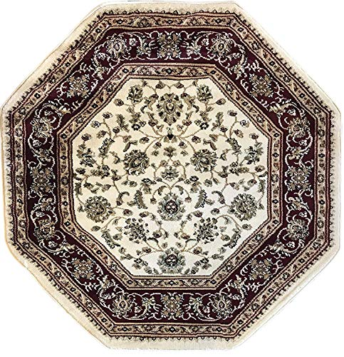 Burgundy Ivory Rug - Deir Debwan Traditional Octagon Persian 330,000 Point Oriental Area Rug Ivory Burgundy Green Beige Design 601 (4 Feet X 4 Feet