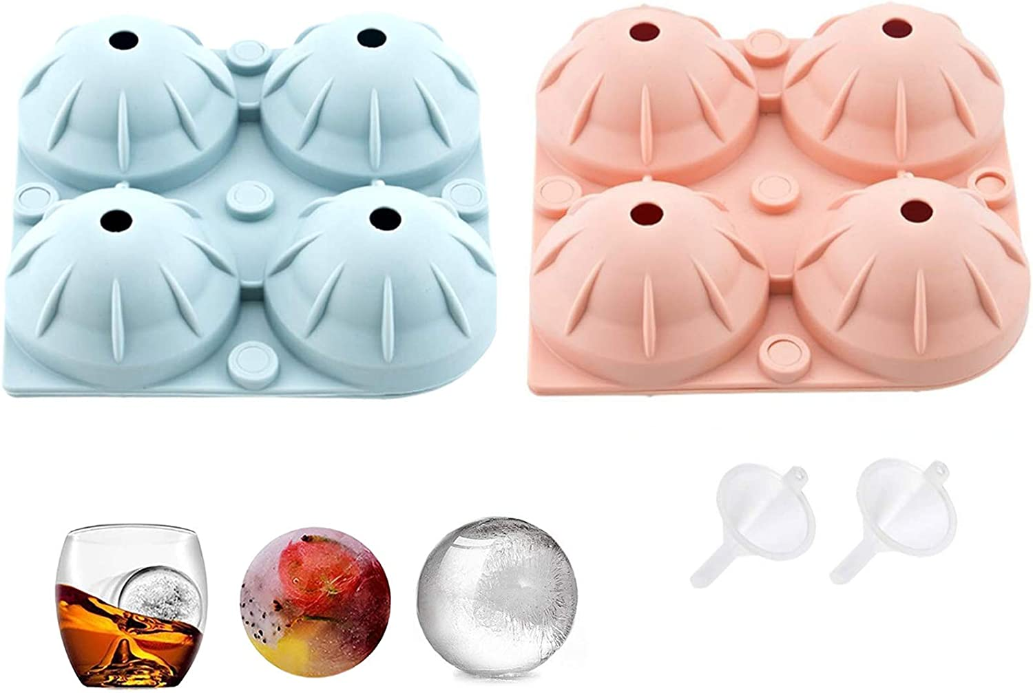 2Pcs ice Cube Trays ,Large Sphere Ice Mold, easy release ice mold cocktail and reusable Scotch whisky Tray keep drinks and fruit refrigerated Novelty Food-Grade Silicone Ice Mold Tray 2 funnel gift
