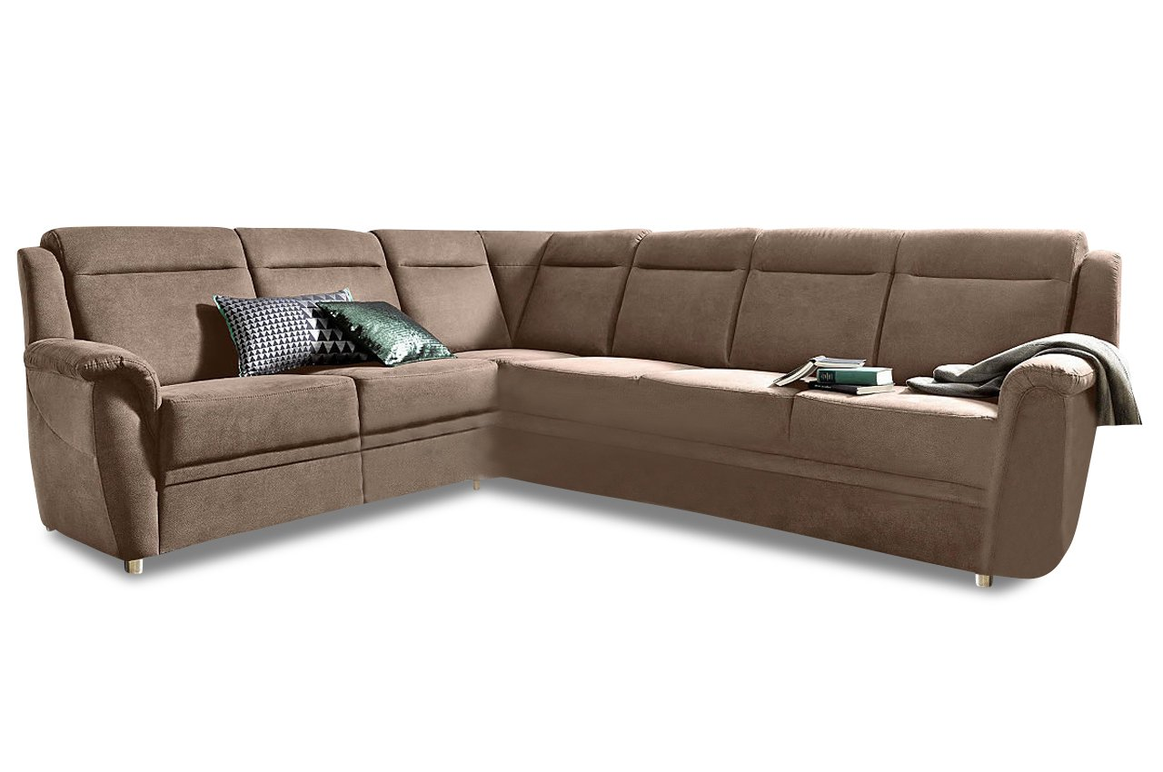 sofa rundecke katarina mit schlaffunktion braun mit federkern luxus microfaser braun g nstig. Black Bedroom Furniture Sets. Home Design Ideas