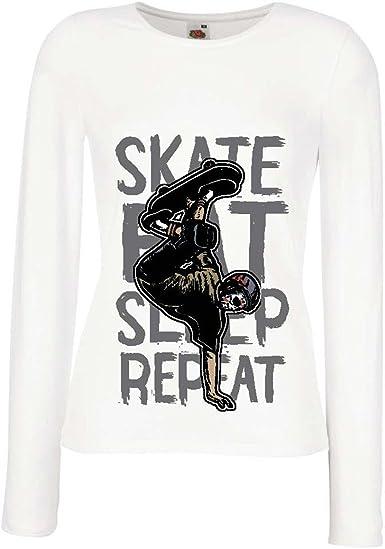 lepni.me Camisetas de Manga Larga para Mujer Eat-Sleep-Skate ...