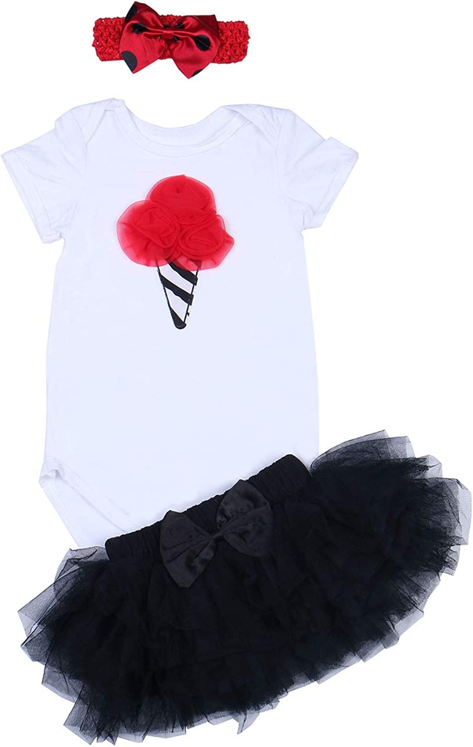 BABYPREG 3PCs Baby Girls 1st Birthday Tutu Dress Romper Skirt Headband Outfit