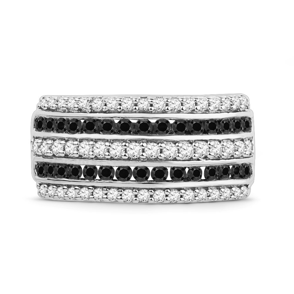 Sterling Silver Black and White Round Diamond Fashion Band Ring (1 cttw) by D-GOLD
