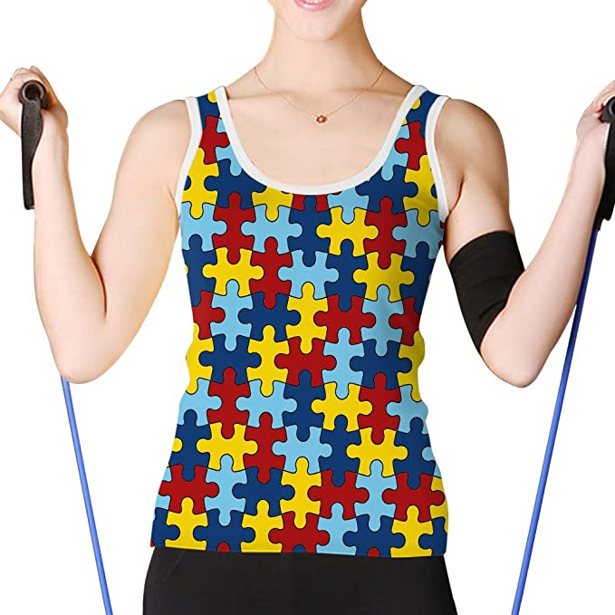 81dc7c6eb8d23 Women s Basic Tank Tops Racerback Camisole Girls Autism Awareness Puzzle -1  White