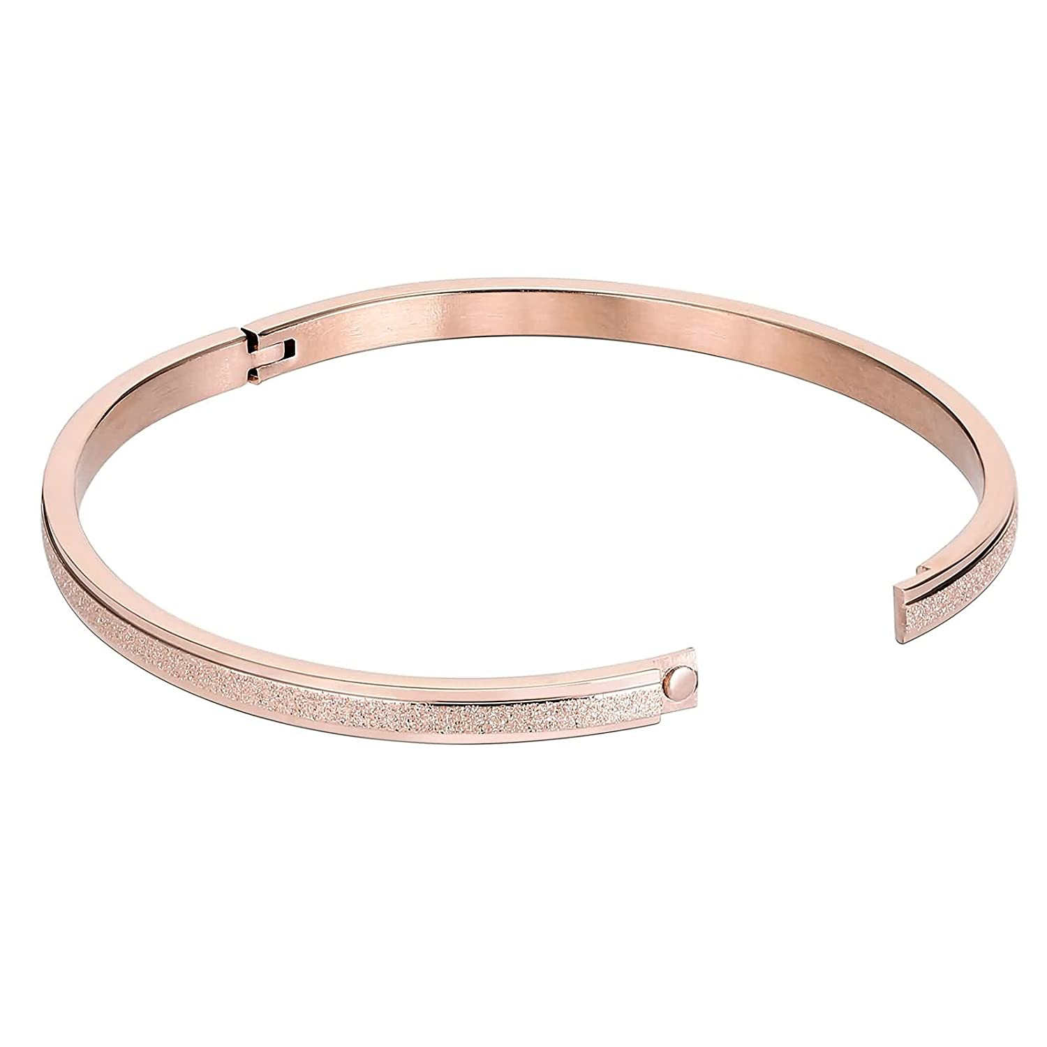 KnSam Cuff Bracelets for Womens Stainless Steel Tube Hinged with Pave Rose Gold