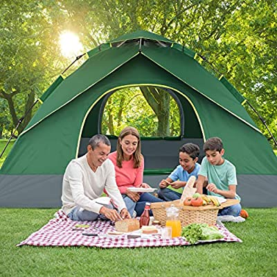 "BATTOP 3-4 Person Tent for Family Camping Automatic Instant Pop Up Tents 4 Season Backpacking Tent for Outdoor 98.25"" L x 98.25"" W x 58.95"" H"