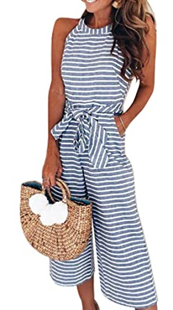 356b20d051a Amazon.com  Lunaya Women Halter Striped Wide Leg Cropped Pants Waist Belt  Casual Jumpsuits Rompers with Pockets  Clothing