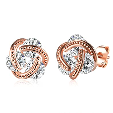 Buycitky 14K Rose Gold Plated Love Knot Stud Earrings for Women Cubic  Zirconia Post Earrings 7bda330a4d
