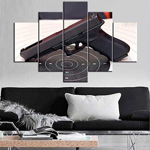 TUMOVO Black and White Guns on Target Canvas Print Art Weapon Home Decor Wall Art Picture
