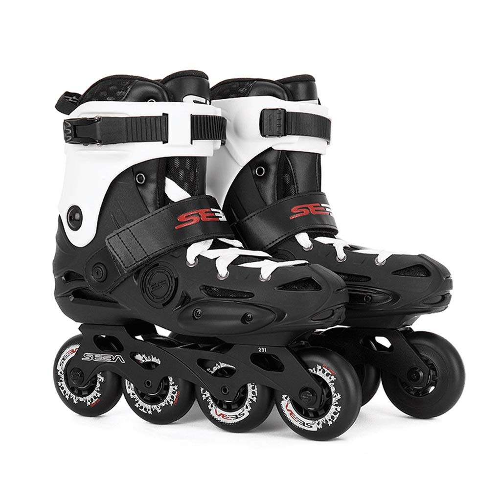 ZHANGHAIMING インラインスケート、カジュアルな大人用ファンシースケート初心者大学生単列ローラースケート耐摩耗性強い、黒 (色 : ブラック, サイズ さいず : EU 40/US 7.5/UK6.5/JP20.5cm) ブラック EU 40/US 7.5/UK6.5/JP20.5cm