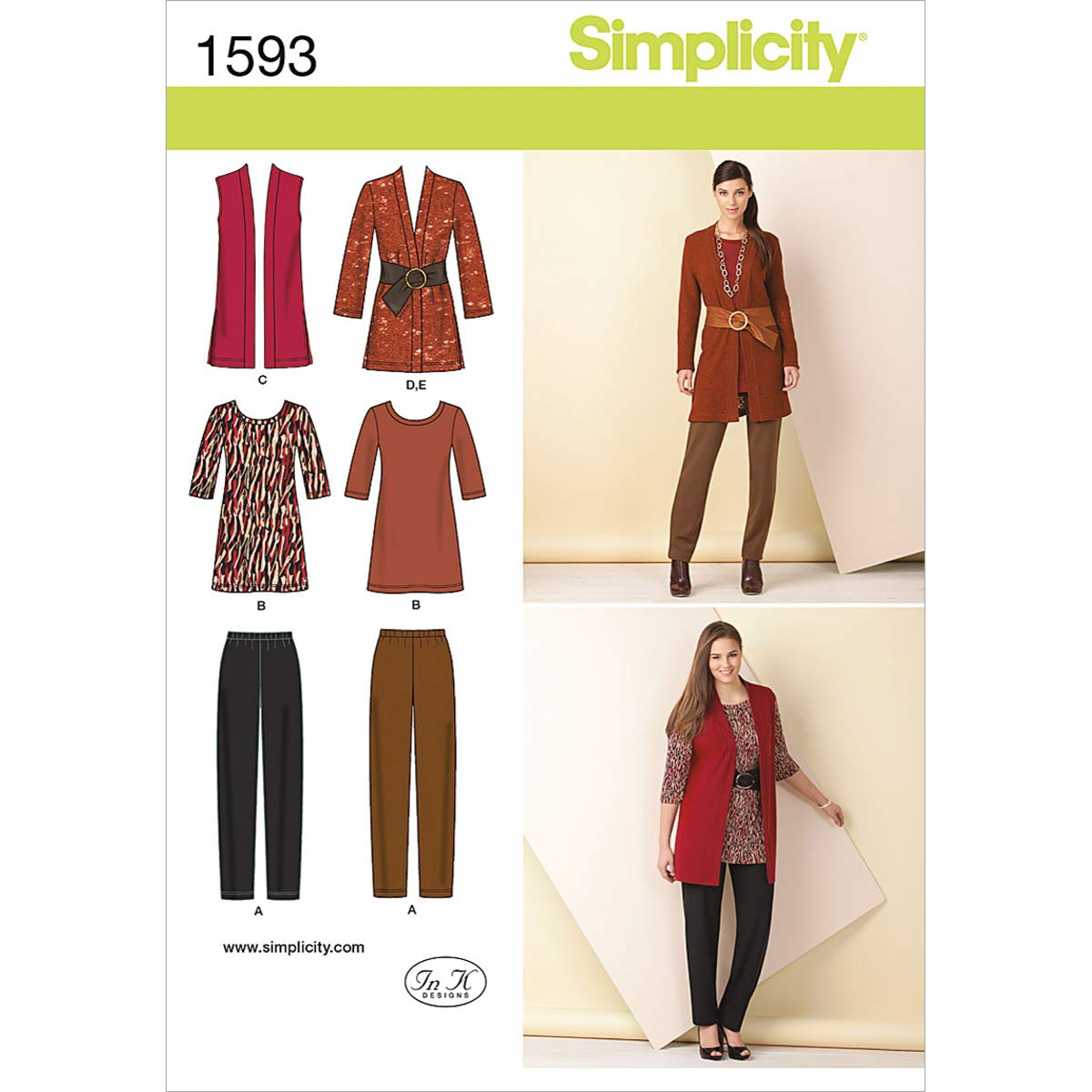 Simplicity Pattern 1593 Misses Knit Slim Pants, Tunic, Jacket, Vest, Belt Size 10-12-14-16-18 Simplicity Creative Patterns