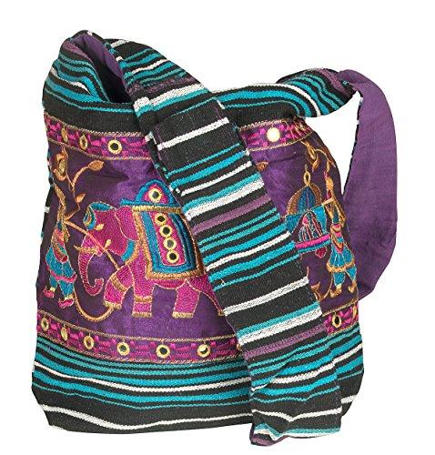 TribeAzure Elephant Hobo Shoulder Bag Cotton Sling Crossbody Handbag Boho Hippie Books Market Spacious Colorful Roomy Casual (Majestic Purple)