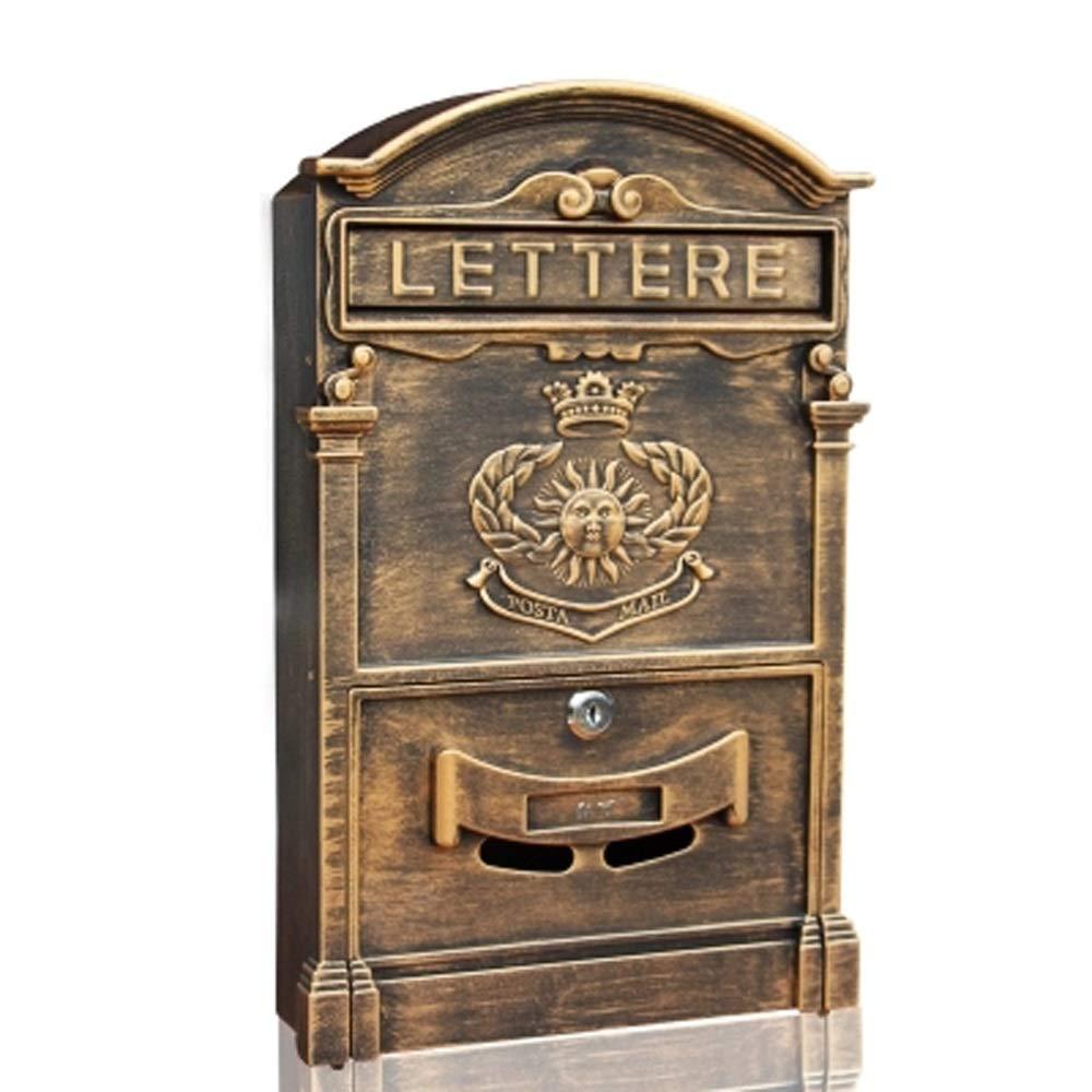 RMJAI メールボックス メールボックスヴィラ屋外壁掛けレターボックスキャストアルミ新聞ボックスレトロホームポストボックス付きロック屋外受信トレイ   B07R5PTNG7