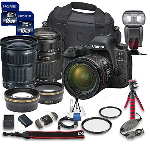 Canon EOS 6D Mark II DSLR Camera Bundle w/Canon EF 24-105mm f/3.5-5.6 is STM Lens + Tamron 70-300mm f/4-5.6 Telephoto Lens + 2pc PROSPEED 16GB Memory Cards + Premium Accessory Bundle Kit (18 Items) For Sale