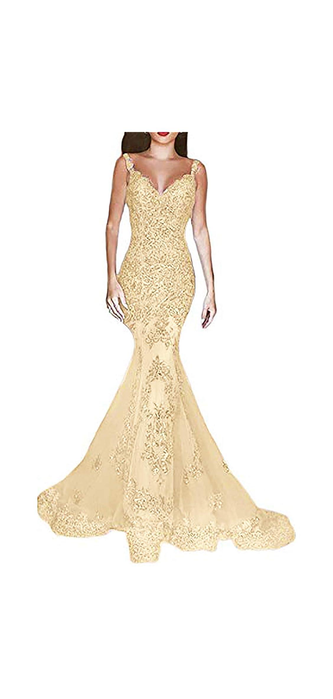 Women's Formal Sequin Mermaid Prom Dresses Long V-neck