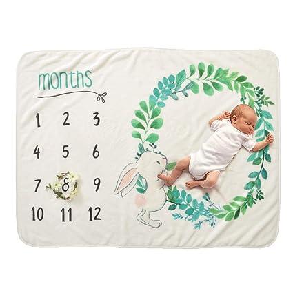 Decdeal - Manta para recién Nacido con diseño de hitos y Fondo con Tabla de Crecimiento mensual para niña y niño