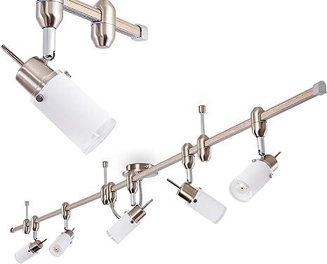 Halogen Strahler Deckenleuchte Deckenlampe nickelmatt Spot GU10 3 x 35 Watt warmweiss