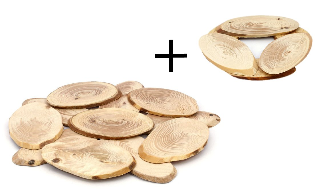 Wood Trivet for Hot Dishes,Pot Holders,Hot Pads,Round Table Top,Country Style Kitchen - Handmade from Natural Aromatic Pine Wood for Pots and Pans - Premium Quality - Ø 7.88 Inch. (2-pack)