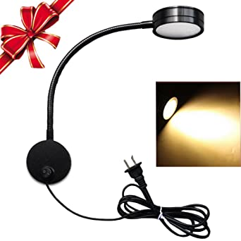 Upgraded] Flexible Plug Wired LED Wall Light, 5W Gooseneck Wall ...