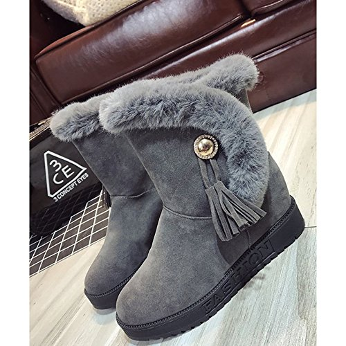 Winter Low Null Green Mid Heel Casual Dark Boots Boots Calf Green Boots PU for Black HSXZ Shoes Combat Army Grey Women's ZHZNVX Toe Round Army Feather qOnzAIF4w