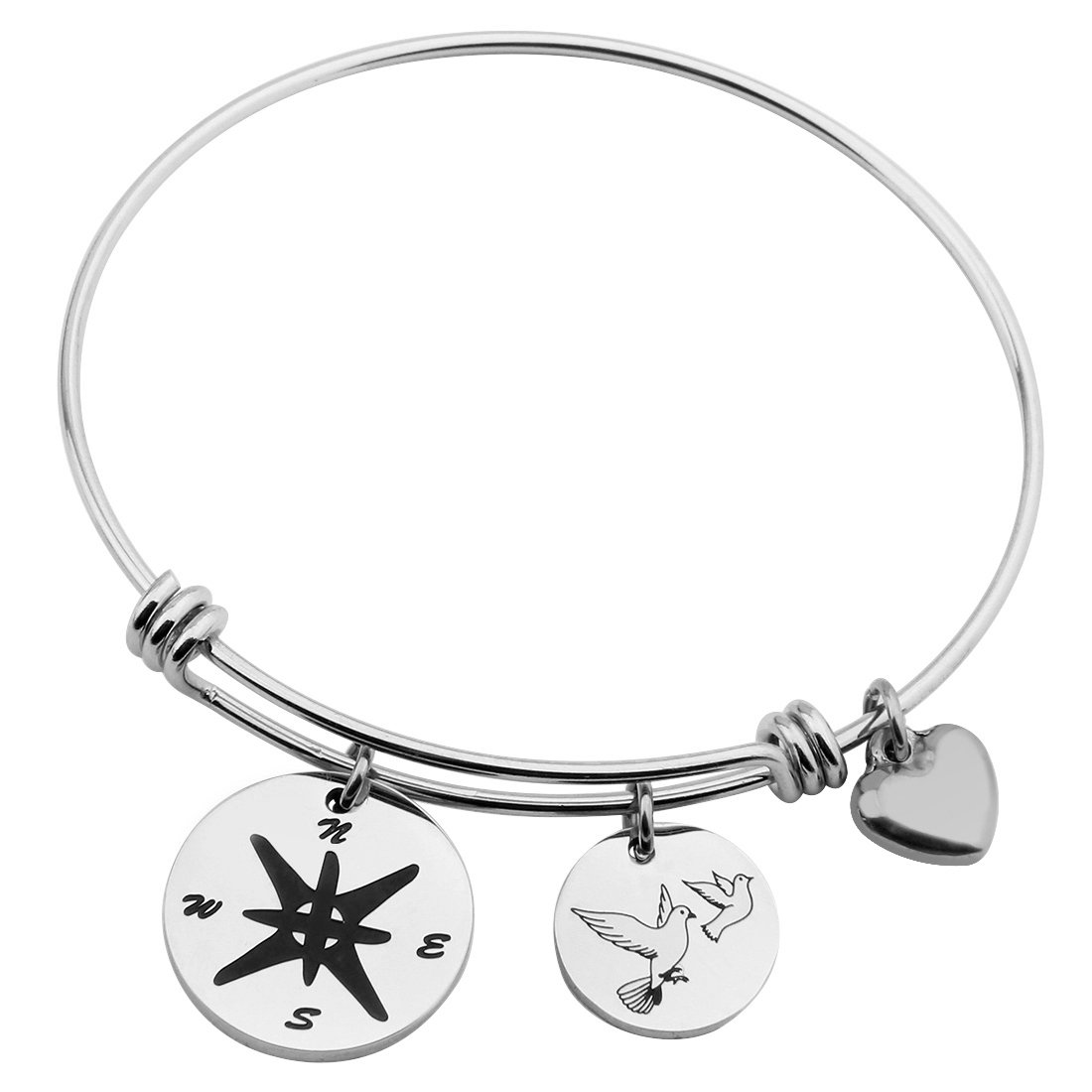 Gzrlyf Compass Charm Bracelet Stainless Steel Pigeon Bracelet Best Friends Bracelet Travel Gift(compass bracelet) by Gzrlyf