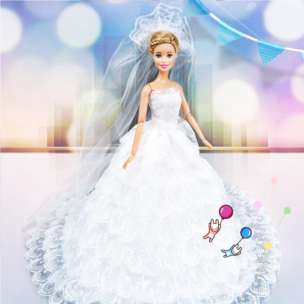 Elegant Long Tee Princess Wedding Dress for 29cm  Doll Girl Gifts