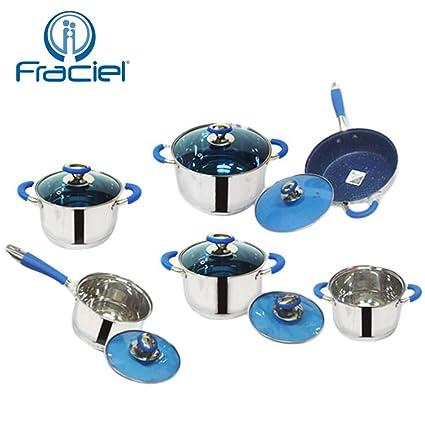 Fraciel - Batería de cocina de acero inoxidable, 12 piezas - Incluye 5 ollas, 1 sartén con revestimiento de piedra volcánica azul y 6 tapas de cristal ...