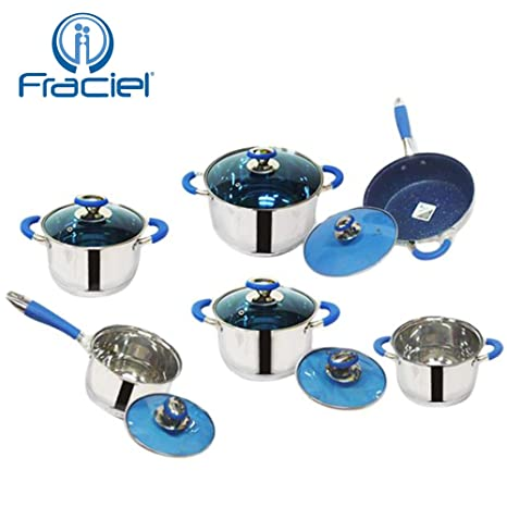 Fraciel - Batería de cocina de acero inoxidable, 12 piezas - Incluye 5 ollas, 1 sartén con revestimiento ...