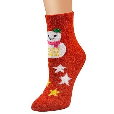 Calcetines Mujer Divertidos Invierno Antideslizantes Unisex Navidad Casual Suave Transpirable CáLido Coral Terciopelo Santa Snowman Calcetines