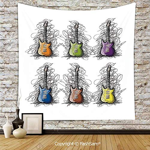 FashSam Polyester Tapestry Wall Sketchy Lined Colored Design Guitar Collage for Teens Rocker Song Lovers Image Hanging Printed Home Decor(W59xL90)]()