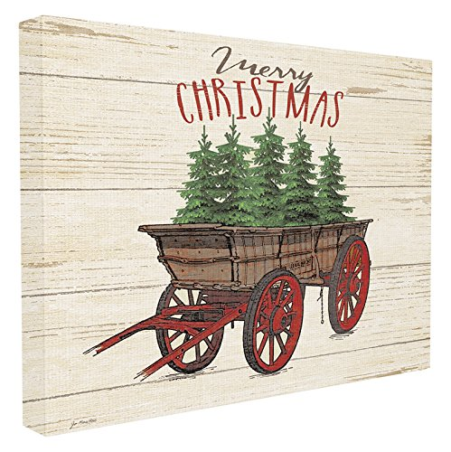 Stupell Industries Merry Christmas Tree Wagon Oversized Stretched Canvas Wall Art, Proudly Made in USA made in Rhode Island