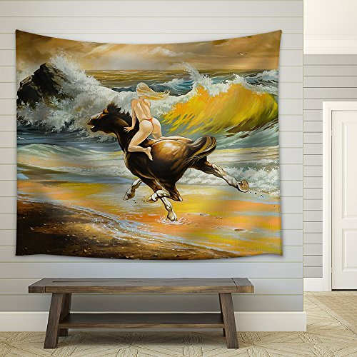 The Girl Skipping on a Horse on Seacoast Fabric Wall