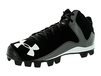 Men\u0027s Under Armour Leadoff Mid RM Baseball Cleats Black/Charcoal Size 6.5  ...