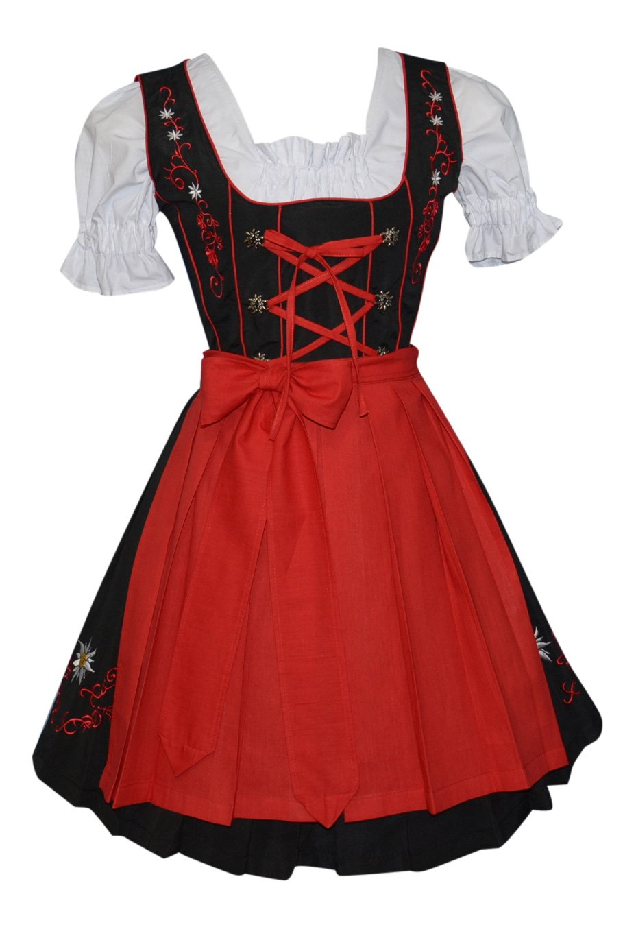 3-Piece Short German Party Oktoberfest Dirndl Dress Black & Red (18)