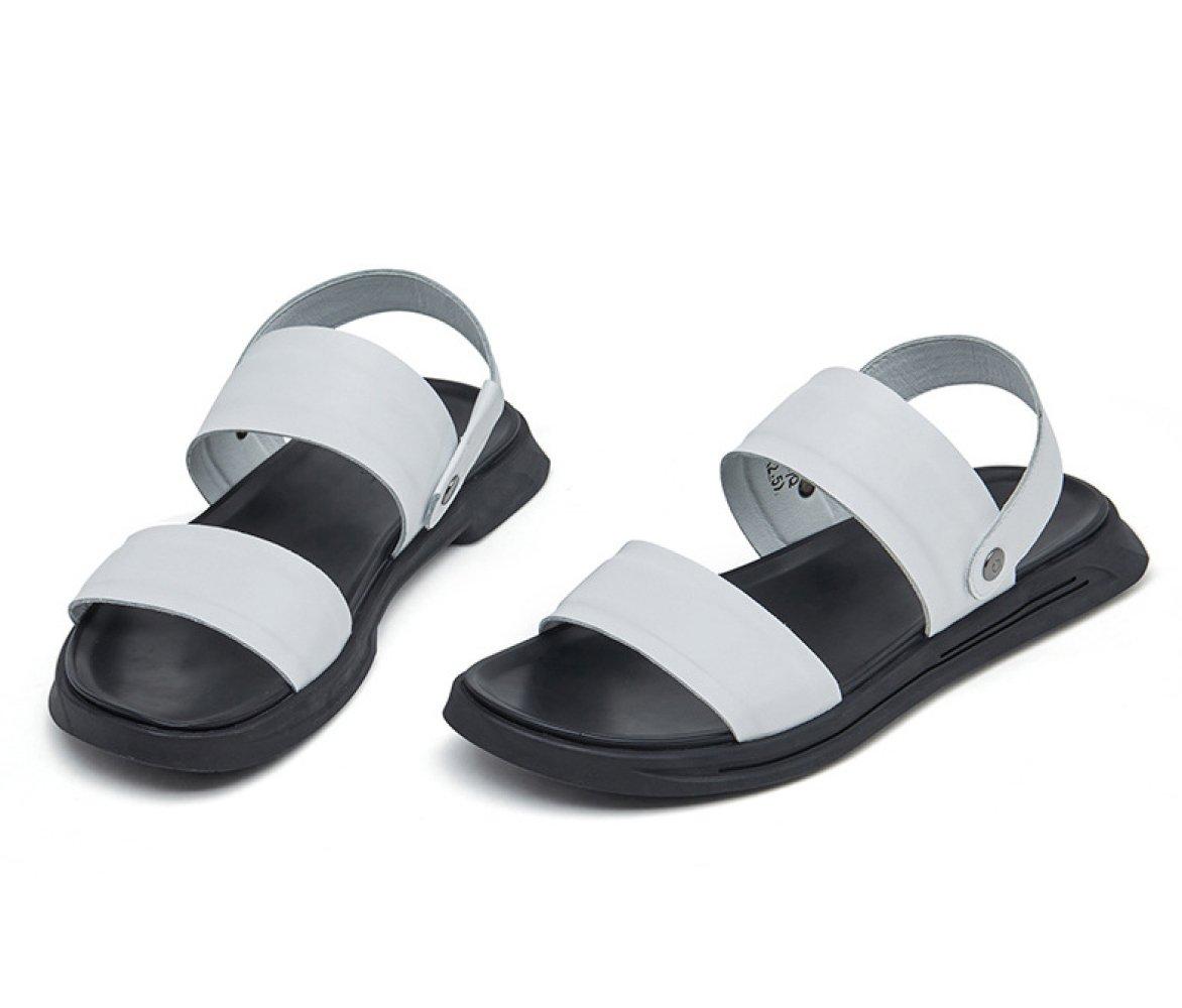 WKNBEU Weiß Herren Sandalen Leder Schwarz Weiß WKNBEU Sommer Dick-soled Strand Hausschuhe Freizeitschuhe Weiß 91c9d6