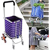 Folding Shopping Cart Heavy Duty Rolling Grocery Carts Reusable Utility Transit Stair Climbing Cart W/ Swivel Wheel Bearings, Collapsible Frame, 177 Pounds Capacity