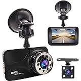 "Dash Cam , GERI Black Box dash camera Full HD 1080P 3"" LCD Car DVR dual Camera Video Recorder with G-Sensor Night Vision Motion Detection WDR 170° Wide Angle with reversing camera"