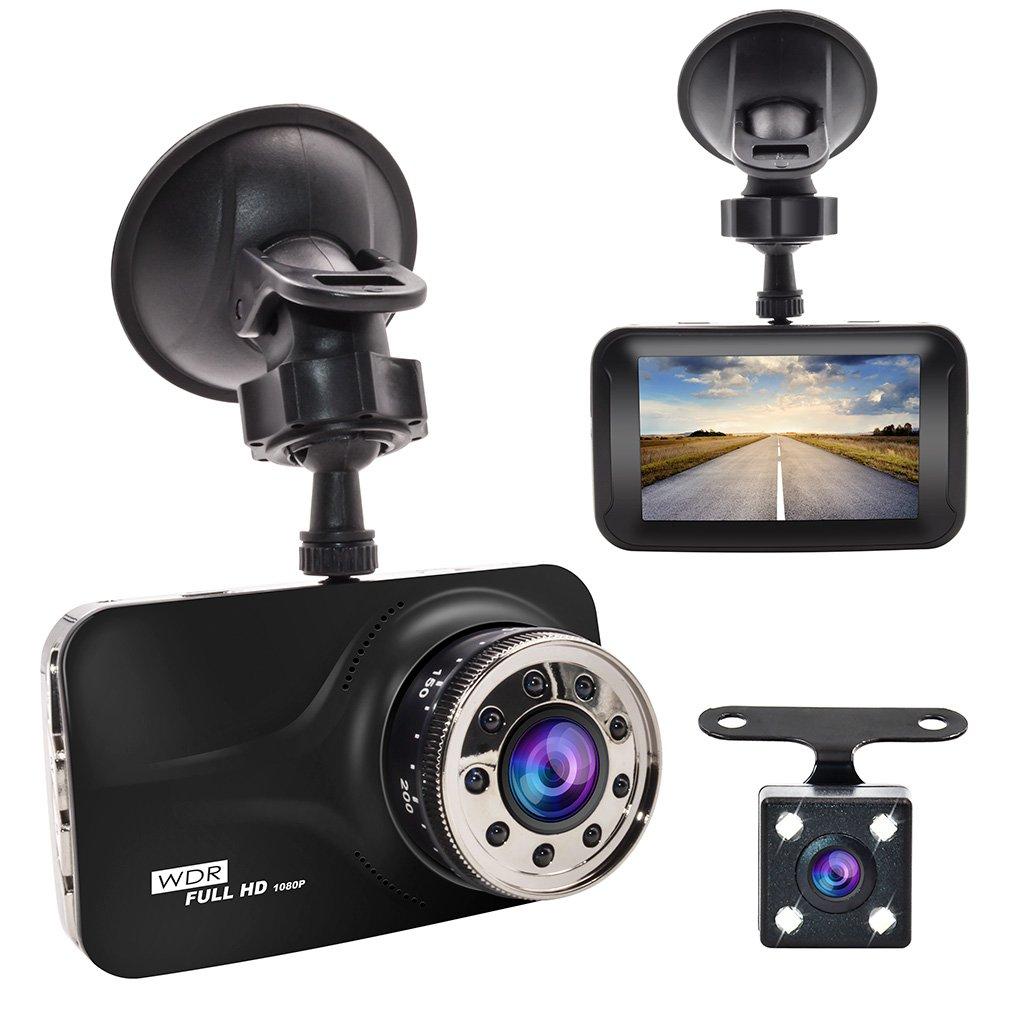 Dash Cam, GERI Black Box Dash Camera Full HD 1080P 3' LCD Car DVR Dual Camera Video Recorder G-Sensor Night Vision Motion Detection WDR 170° Wide Angle reversing Camera Carcam001-CA