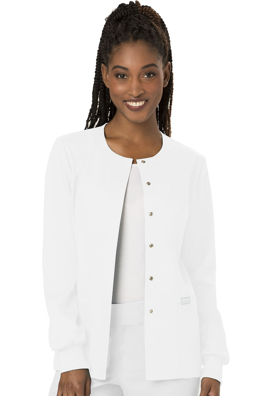 WW Revolution by Cherokee Women's Snap Front Warm-up Jacket, White, L