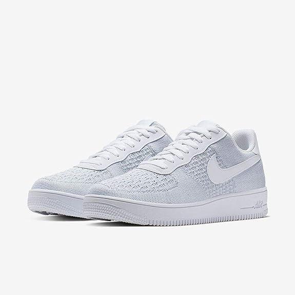 9941fef6 Amazon.com | Nike Air Force 1 Flyknit 2.0 Mens Sneakers AV3042-100, White/Pure  Platinum-Pure Platinum-White | Basketball